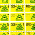 Five center U.S. stamp sheet - National Park Service 1916 to 1966