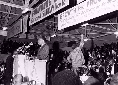 Dr. Martin Luther King, Jr. speaks at a strike support rally for the sanitation workers seeking recognition under AFSCME. The photo was taken in March 1968. by Pan-African News Wire File Photos
