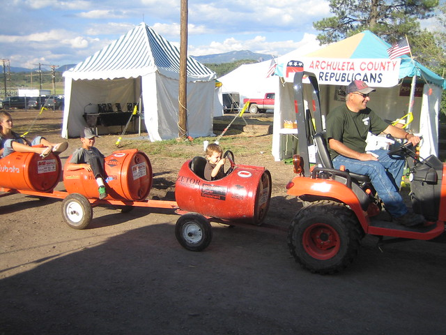Tractor Train Rides : Henry rides the tractor train and driver nearly
