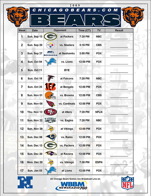 Irresistible image for chicago bears schedule printable