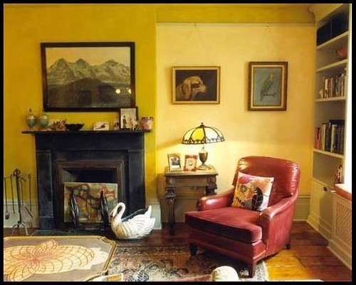 Yellow living room two tone paint by nickey kehoe for Yellow painted rooms