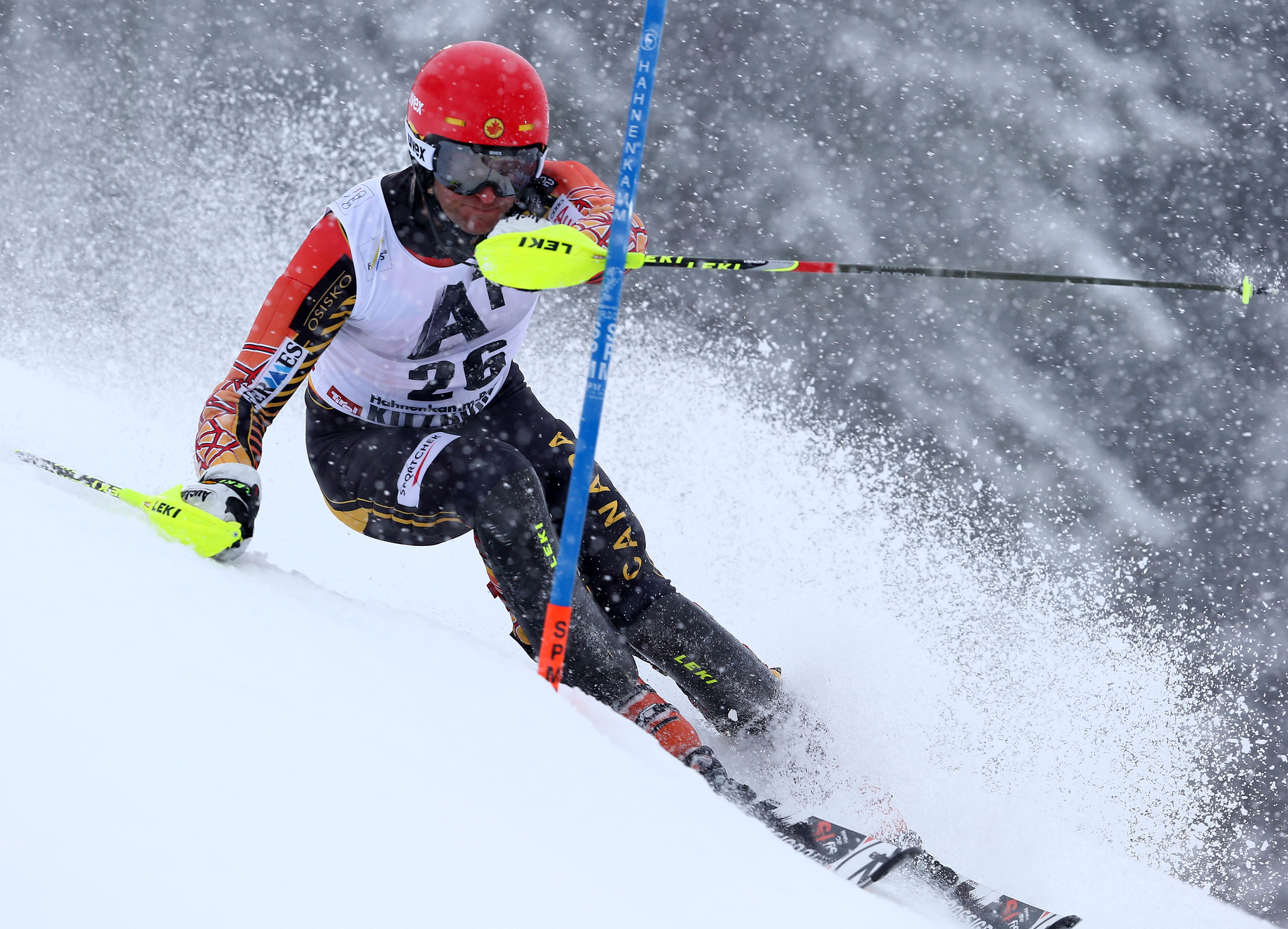 Janyk in action during the slalom in Kitzbuehel, AUT
