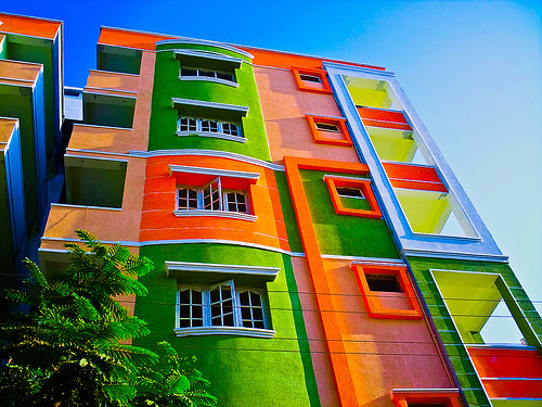 a very colorful building