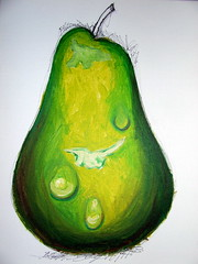 yellow, pear, green, fruit, food, illustration,