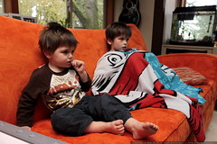 brothers watching a movie together
