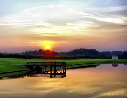 sunset sky sun lake color clouds landscape dock northcarolina hdr cloudscapes childressvineyards photomatix lexingtonnc jeanetterunyon