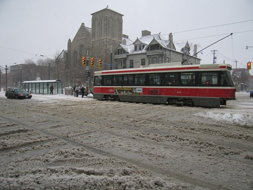 Spadina streetcar driving through snow
