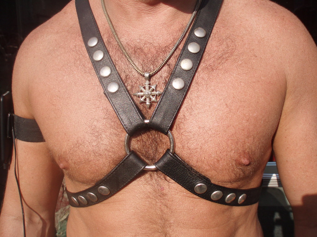 BEAUTIFUL HAIRY MUSCLE CHEST ! FOLSOM STREET FAIR 2009 ! ( safe photo )