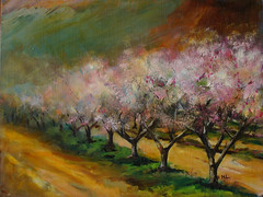 Enchanting view of spring peach blossom
