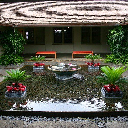 A lovely koi pond in the courtyard of the Hotel Hana-Maui.
