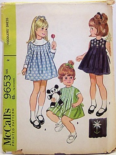 Vintage McCalls Pattern 9653 Girls 60s Box Pleated Dress with Embroidery Transfers