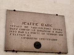 Photo of Jeanne d'Arc brown plaque