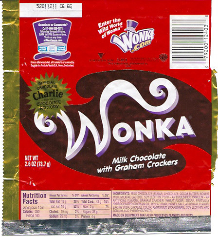Wonka Charlie and the Chocolate Factory Chocolate Bar ...
