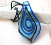 Blue Swirl Fused Glass Pendant by BeansThings