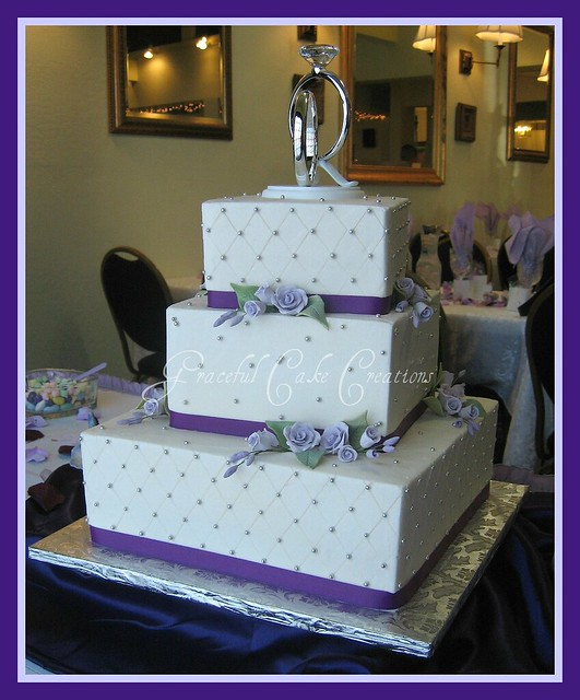 Square Wedding Cake with Lavender Roses and Purple Ribbon