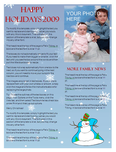 christmas newsletter template snowflake background at