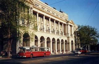 Soviet ZIU-9 trollebus in Pest, Budapest, May 1988