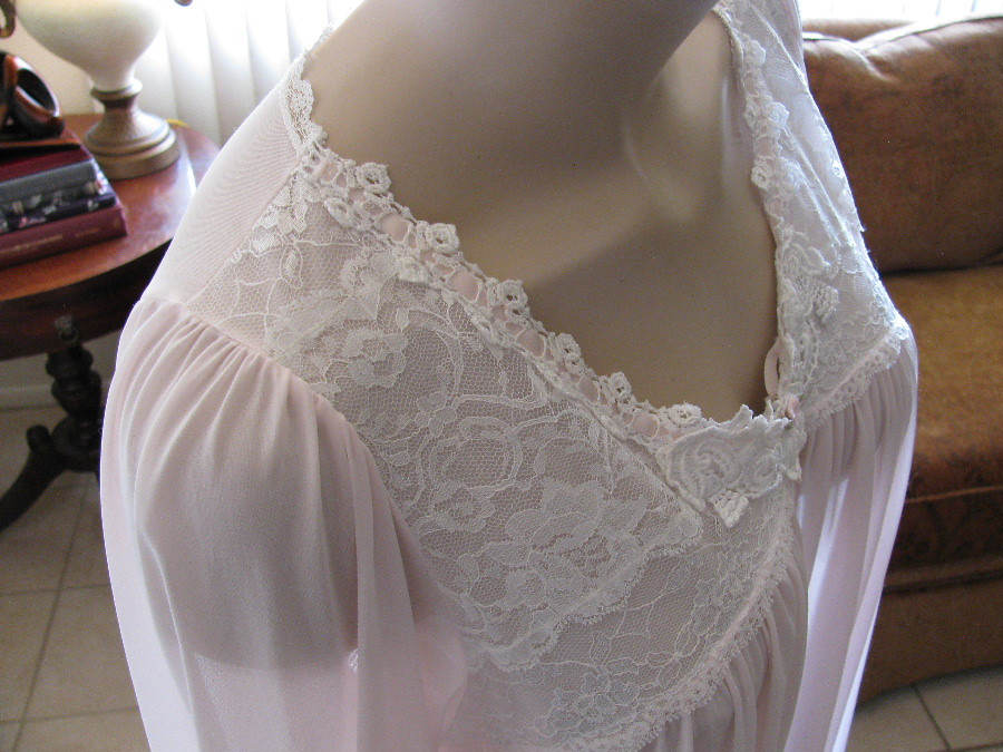 Miss Elaine Pale Pink Antron Nylon Nightgown Elevated Close Up ...