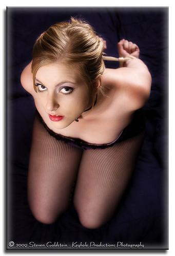 hot sexy girl beautiful fetish eyes pretty blonde fishnets kneeling bound submissive keyholeproductionsphotography modelmayhem19690
