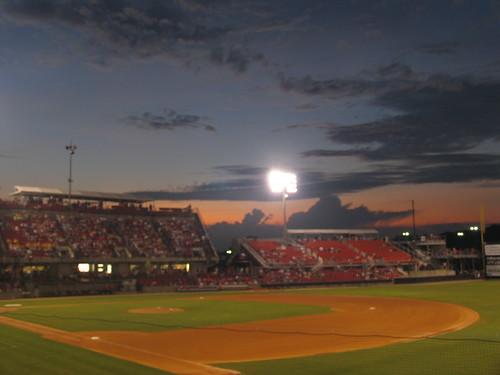 clouds baseball sunsets northcarolina 2009 minorleaguebaseball wakecounty carolinamudcats fivecountystadium stadiumsandarenas