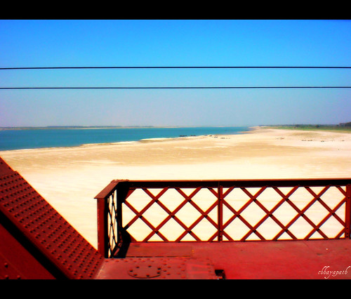 bridge blue red sky color colors metal train river island boat wire sand view horizon wide sandbar line explore char frontpage bangladesh bangla jamuna chhayapath