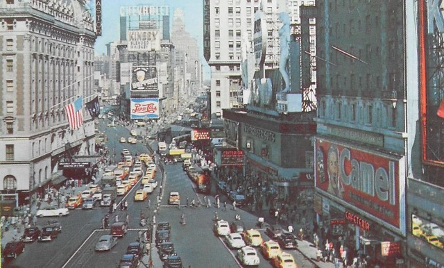 TIMES SQUARE LOOKING NORTH 1940s Postcard Vintage New York City