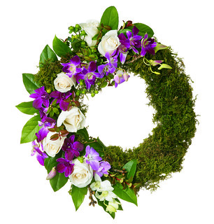 Moss Covered Wreath with Rose Spray