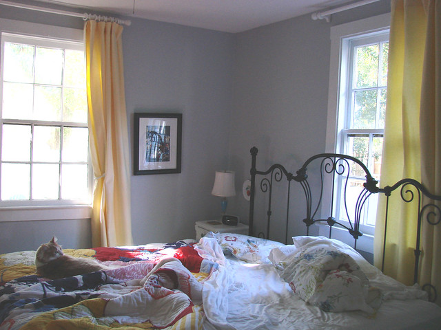 New yellow curtains with new gray walls flickr photo - Curtain color for gray walls ...
