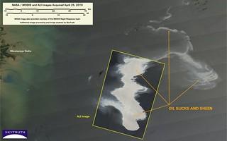 Deepwater Horizon Oil Spill – MODIS/Aqua and Advanced Land Imager, April 25, 2010 – Detail