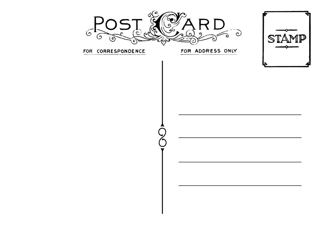 Vintage postcard template back 2 tamar pinterest for Backside of postcard template