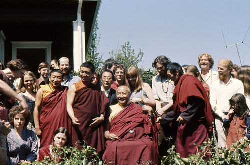 Dilgo Khyentse and Dagchen Sakya with students, group portrait, 1976, Seattle Washington USA by Wonderlane