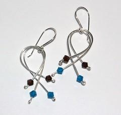 Aqua and Sable Swarovski loops