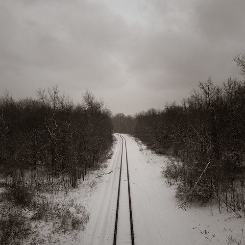 travel trees winter ohio white snow cold weather america train landscape woods pentax path transport tracks rail overcast direction processed soe freight lightroom conneaut k20d