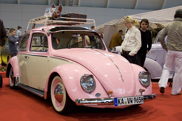 B Z on pink volkswagen beetle bug car