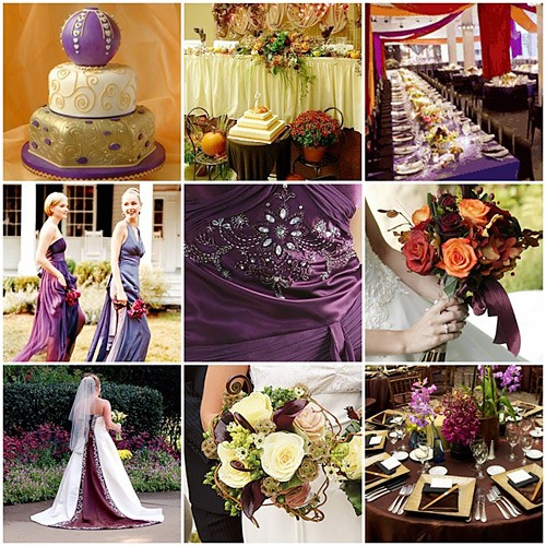Fall Wedding Board Dramatic Purple Orange