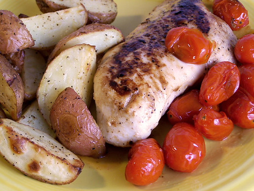 Balsamic Chicken with Roasted Tomatoes and Garlic-Roasted Potatoes