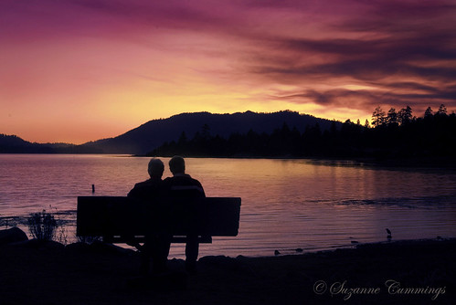 trees sunset lake mountains silhouette clouds bench nikon couple d80 bigbearlakecalifornia dragondaggerphoto dragondaggeraward magicunicornverybest