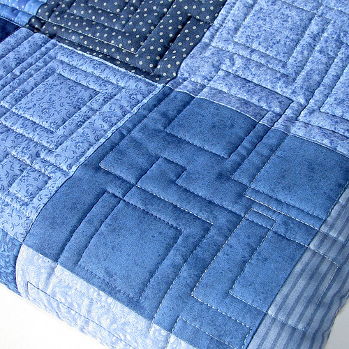 Scrappy Blue Charm Quilt Closeup