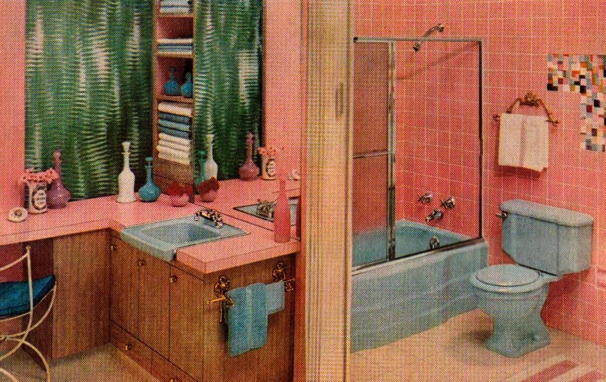 Pink And Blue Bathroom By Saltycotton Via Flickr Classic