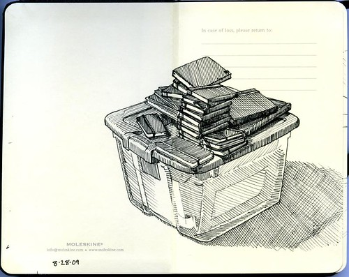 23 sketchbooks on a tub
