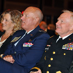 Lt. Gen. Harry M. Wyatt III, director of the Air National Guard, and Maj. Gen. Raymond Carpenter, acting director of the Army National Guard, attend opening ceremonies for the 131st National Guard Association of the United States General Conference