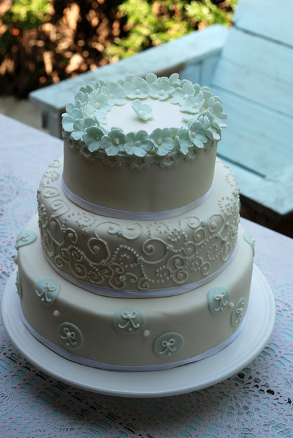 baby blue and white wedding cake