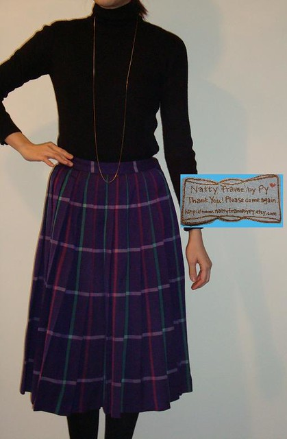Vintage 1970s Purple Pink Plaid Pleated Skirt
