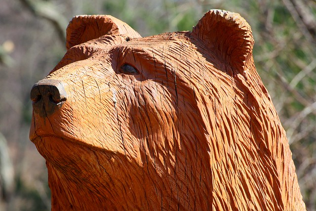 Bear chainsaw carving old us e on right as you go to