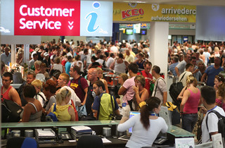 Airport delay: crowded terminal