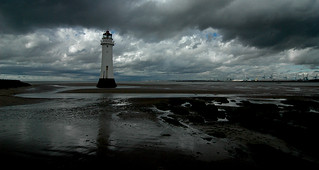 New Brighton lighthouse stands tall as the storm passes..