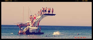 Image of Έλλη (Elli Beach) Elli Beach near Ródos. sea summer beach kids children jump dive young diving greece rhodes 2009 ρόδοσ