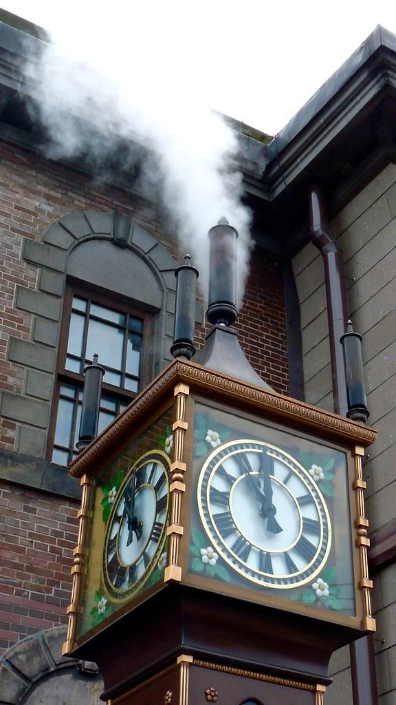 The Otaru Steam Clock 時計 steaming on the Marchen intersection in Otaru Hokkaido Japan