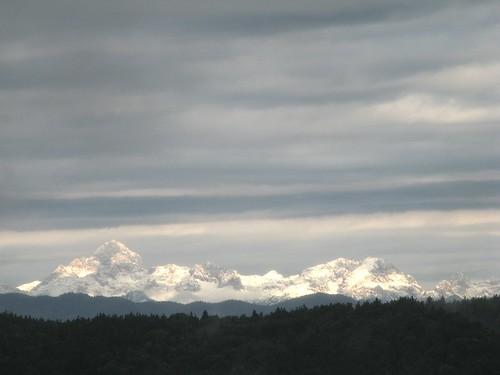 mountains nature sunshine clouds view triglav