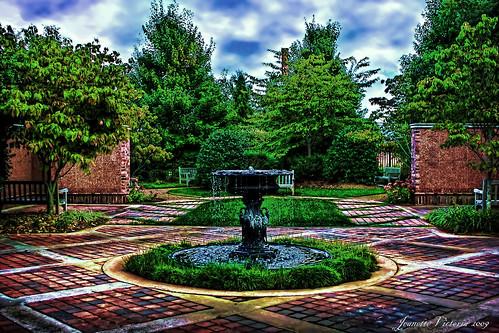 trees fountain garden northcarolina meditation hdr anglican episcopal coth graceepiscopalchurch lexingtonnc platinumheartaward jeanetterunyon